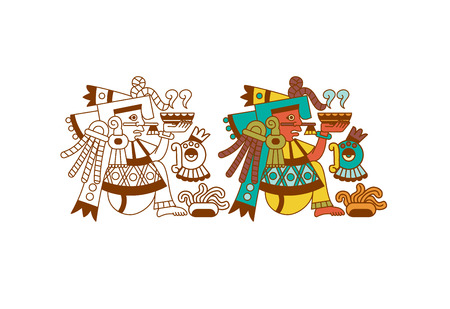 Vector illustration aztec cacao pattern for chocolate package design on brown, red, green, grey, yellow colors in white backdrop.