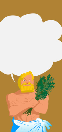 Vector illustration flat style bath and sauna poster with a beard male character keeps birch broom in him hand. Ilustração
