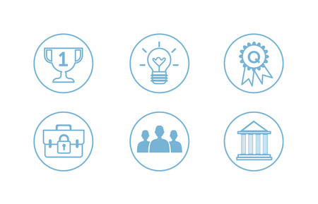 Vector illustration flat style icon collection for business info graphics on white background. Illustration
