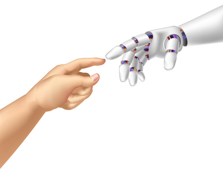 Vector illustration a robotic and human hands.