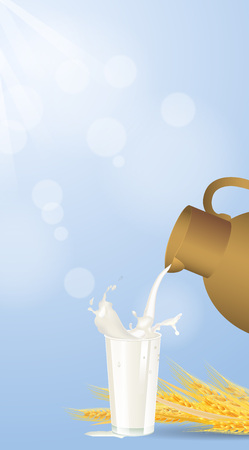 Vector illustration milk is poured into a glass of top to bottom with splashes, wheat brunches on blue background Illustration
