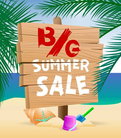 Vector illustration advertisement lettering poster for summer sale shopping with decorate text, tropical leaves, sandy toes and starfish on seaside background.