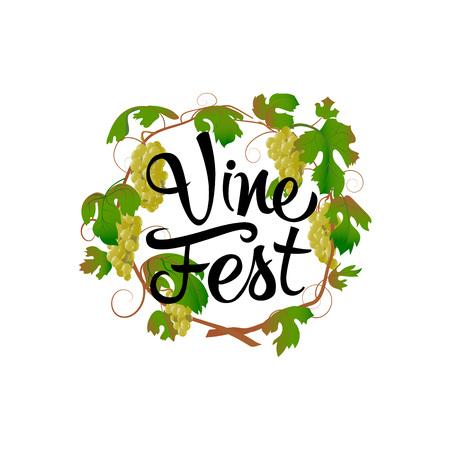Vector illustration poster for a summer-autumn vine festival.