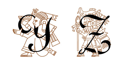 Vector illustration aztec symbol collection for alphabet design package design on white backdrop.