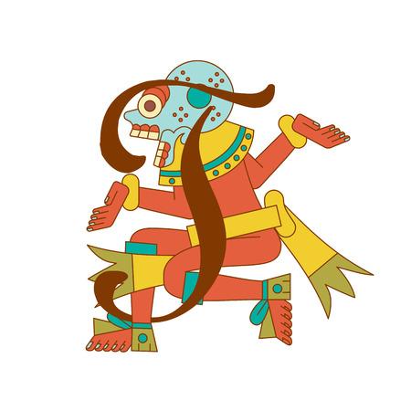 벡터 일러스트 레이 션 흰색 배경에서 초콜릿 패키지 디자인에 대 한 인쇄상의 요소와 aztec 패턴.