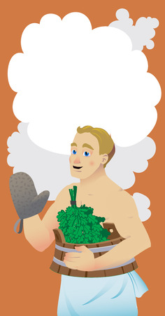vector illustration flat style bath and sauna poster with a male character keeps birch broom in him hand.