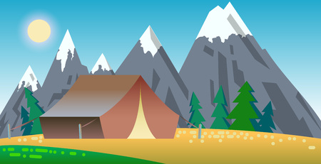 Vector illustration camp poster in cartoon style on the background of mountains. Vettoriali