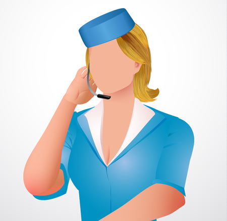 Vector illustration stewardess with a garniture microphone in blue suit. Çizim