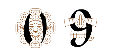 Illustration of aztec pattern collection with typographic elements for chocolate package design. Vettoriali