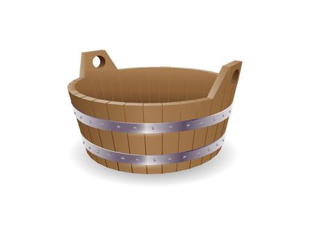 Vector illustration bath and sauna bucket.