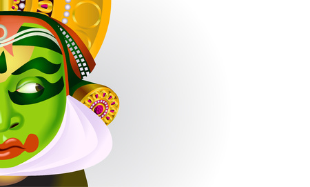 A Vector illustration poster for Indian Onam holiday with decorate mask on white background. Illustration