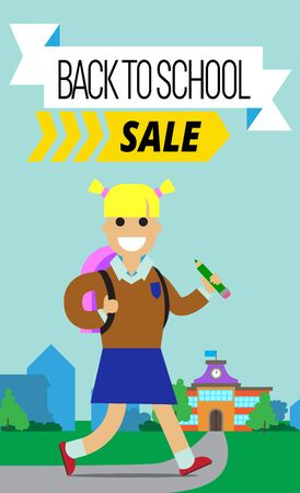 A Vector illustration poster to school time with cartoon character in flat style and decorate text.