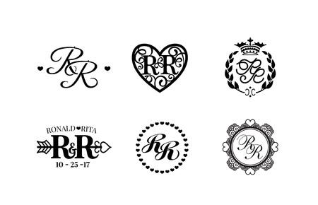 A Vector illustration wedding monogram collection. Stock Illustratie