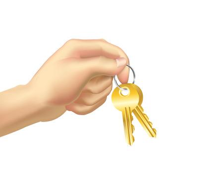 A Vector illustration human hand keeps a keys.
