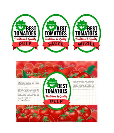 A Vector illustration tomato organic food package design.