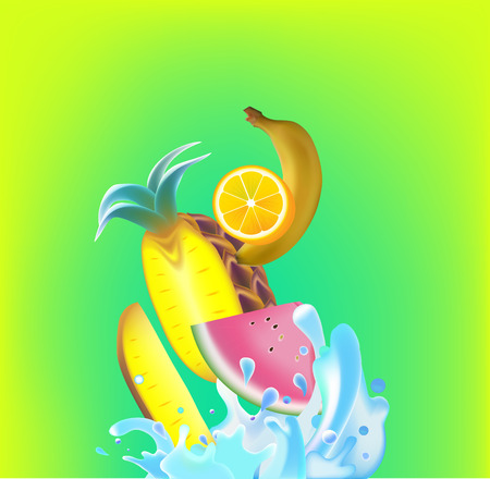 Vector illustration realistic fruits and water splashes on green background. Illustration