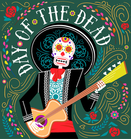 Vector illustration Halloween and day of dead holiday banner with decorate text, skull and flowers.