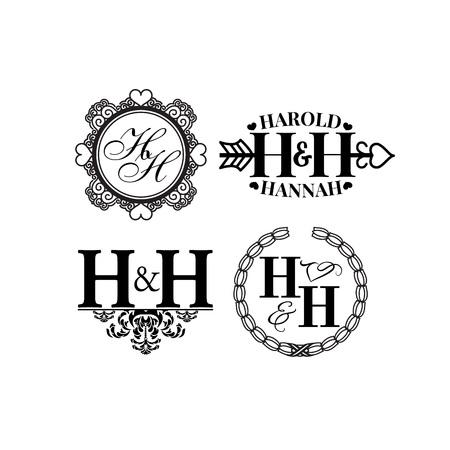 Vector illustration wedding monogram logo collection.
