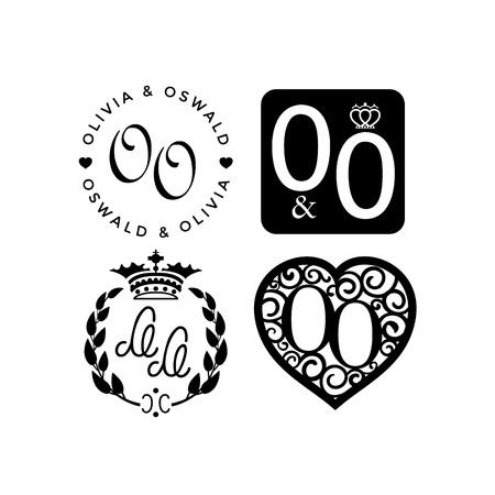 Vector illustration wedding monogram symbol collection.