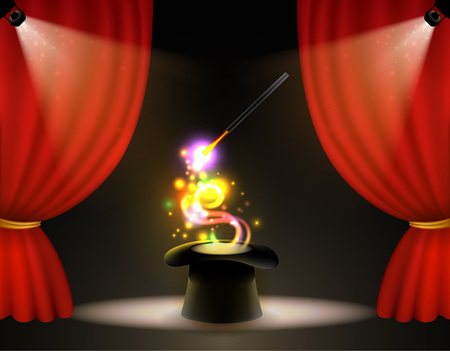 Vector illustration poster for a circus show with a black hat cylinder and magic wand with glowing light effects. Illustration