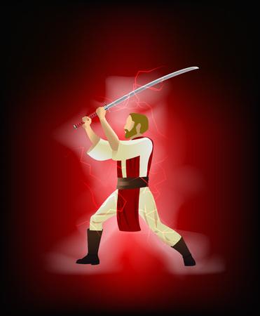 Vector illustration cartoon caractrer with samurai sword. Illustration