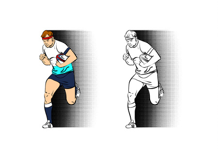 Vector illustration rugby player man runs with ball with halfthone effect.
