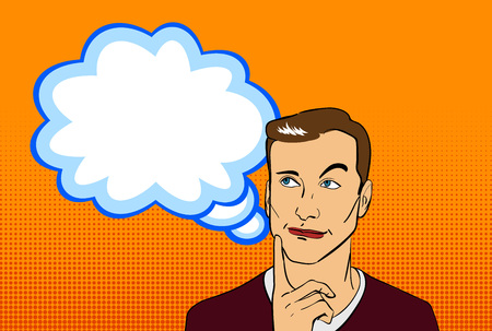 Comic style male character face with base emotion and blank text bubble on orange backdrop. Vector illustration. Illustration