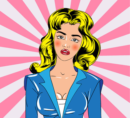 Young girl character in vintage comic book style. Vector illustration.