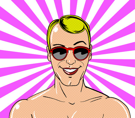 Young man character in vintage comic book style. Vector illustration. Ilustração