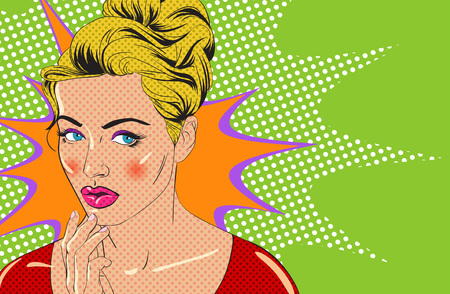 Blonde girl character in style of vintage comic book Vector illustration.