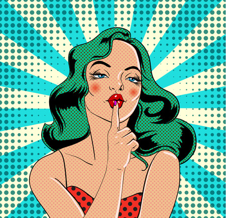 Girl character in vintage comic book style Vector illustration. Çizim