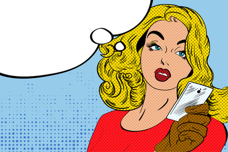 Sexy blonde girl character in style of vintage comic books. Vector illustration.