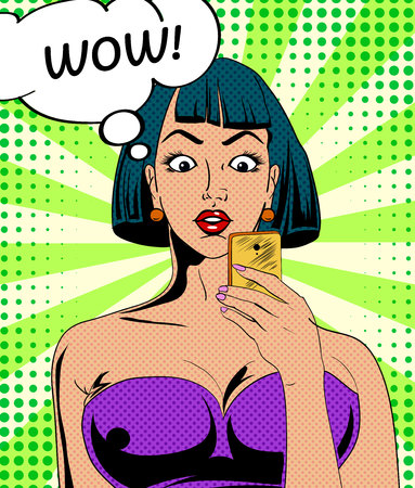 Young girl character in vintage comic book style with mobile device in her hand. Vector illustration.