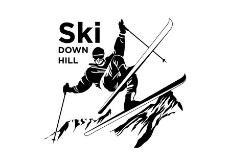 Ski recreation poster design. Vector illustration. Фото со стока - 97778194