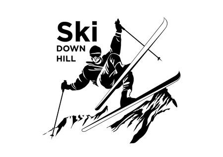 Ski recreation poster design. Vector illustration.