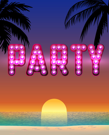 Summer poster with text and neon light effect. Vector illustration.