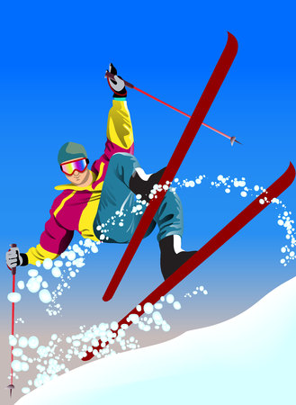 Winter poster with ski man on sky background. Vector illustration.