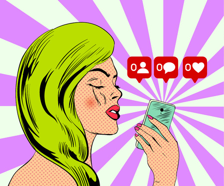 Comic style poster with girl keeps on her hand the mobile phone. Vector illustration.