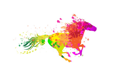 Runnign horse with grunge paint splashes. Vector illustration. Иллюстрация