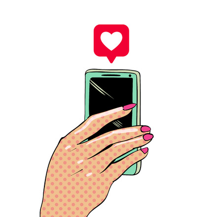 Female hand with mobile phone on white backdrop in comic book style. Vector illustration.