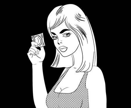 Comic book style girl with condom in her hand. Vector illustration.