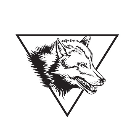 Tattoo design sketch with wolf head. Vector illustration.