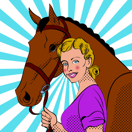 Girl character with horse head in comic book style.  Vector illustration.