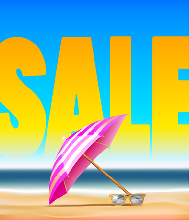 Summer sale poster design with umbrella, decorate text and seaside vector illustration. Illustration