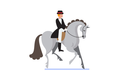 Flat style equestrian poster with a jockey on gray horse vector illustration.