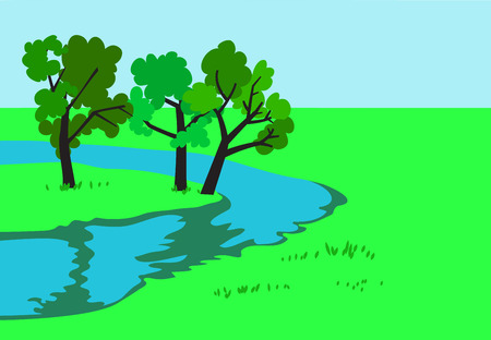 Landscape with river banks and trees. Vector illustration.  イラスト・ベクター素材