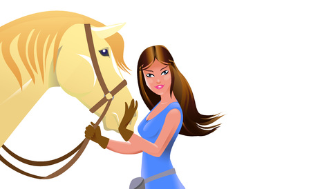 Equine poster with young girl and horse in cartoon style. Vector illustration.