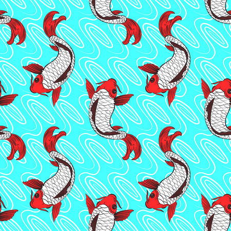 Decorate seamless pattern with a Koi fish on blue background. Vector illustration.