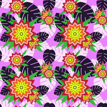 Summer time seamless pattern with tropical flowers and leaves. Vector illustration.