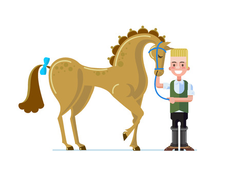 Horse poster design in cartoon flat style.  Vector illustration. Çizim